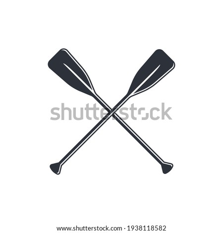 Crossed oars isolated on a white background. Square shaped canoe paddles in flat style, vector illustration. Stock photo ©