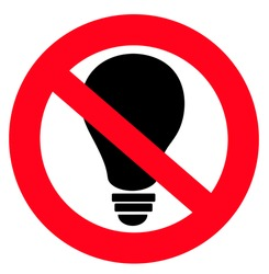 crossed out light bulb red forbidding sign. Concept of professional burnout at work. Icon no idea or no creativity. Smart people don not belong here. be like everyone else
