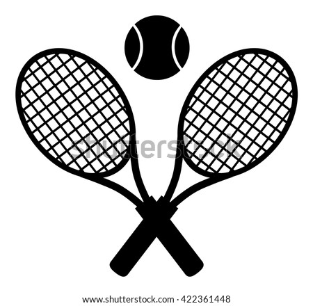 Crossed Racket And Tennis Ball Black Silhouette. Vector Illustration Isolated On White