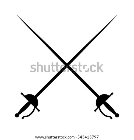 Crossed rapiers / swords or fencing duel flat vector icon for games and websites