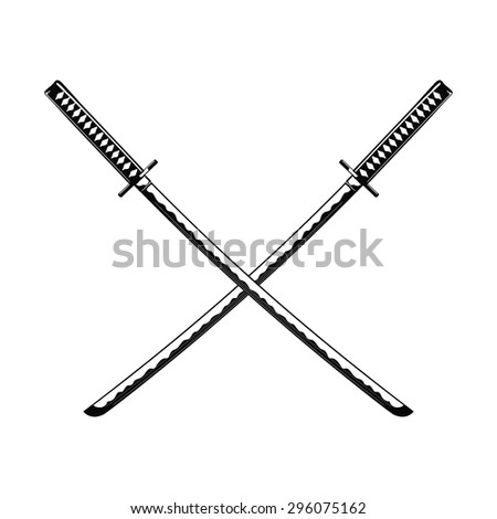 crossed samurai swords isolated
