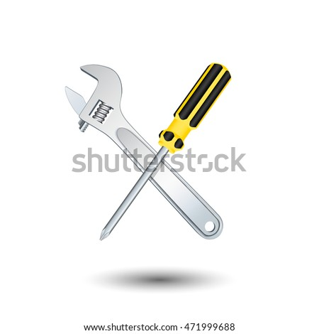Crossed screwdriver and wrench. Isolated on white background. Vector illustration.