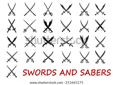 Crossed swords and sabers elements isolated on white background, suitable for history and heraldry logo design