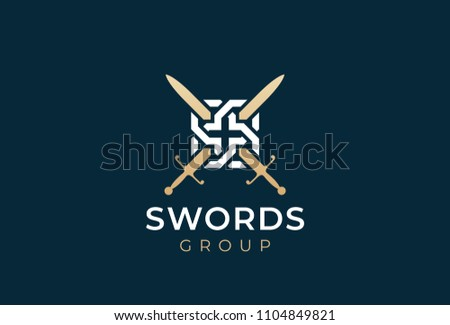 crossed swords logo icon. sword ...