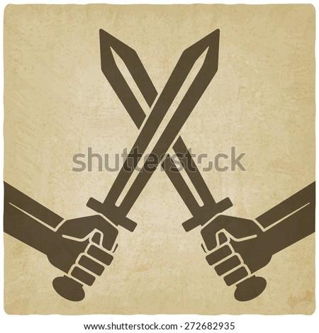 crossed swords old background