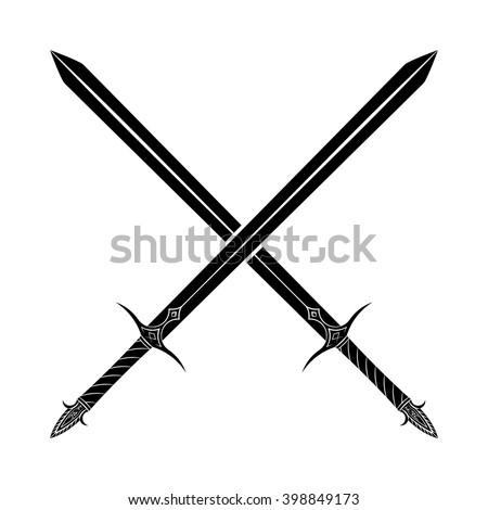 crossed swords silhouette on