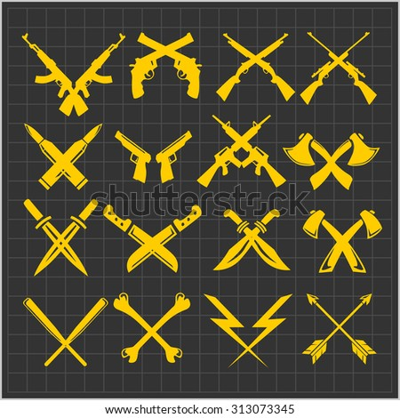 crossed weapons   guns knives