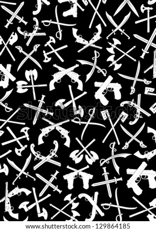 Crossed Weapons Silhouettes Background in Black & White