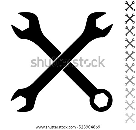 Crossed wrenches - black vector icon and ten icons in  shades of grey