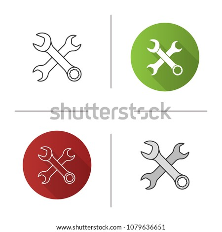 Crossed wrenches icon. Double open ended and combination spanners. Flat design, linear and color styles. Isolated vector illustrations