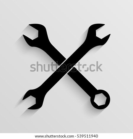 Crossed wrenches vector icon with  shadow