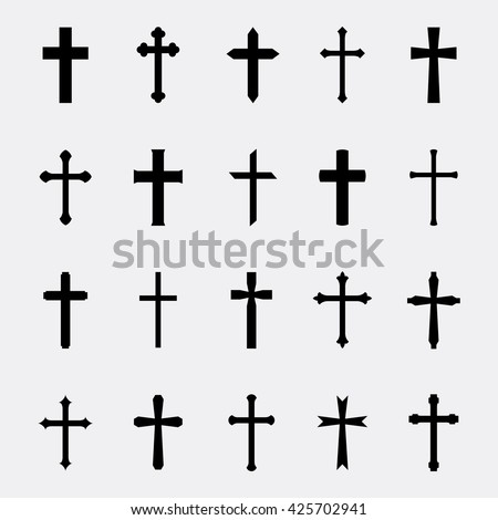 Crosses a simple vector set. Collection of black crosses isolated on white background.  Icons of christian, catholic crosses. Silhouettes simple religious crosses.