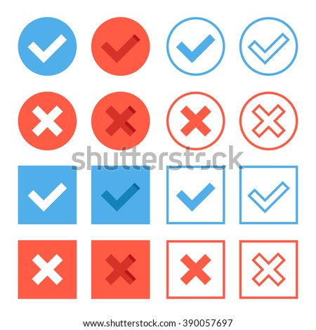 Crosses and check marks icons set. Red and blue web buttons set. Thin line, outline, flat design elements for web banners, web sites, mobile apps, infographics, printed materials. Vector icons set