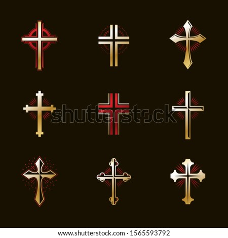 Crosses emblems vector emblems big set, Christian religion heraldic design elements collection, classic style heraldry symbols, antique designs.