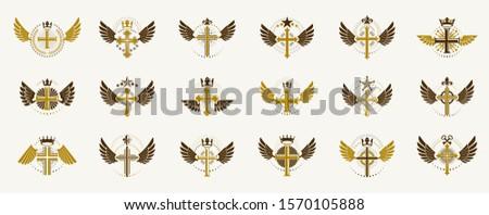 Crosses secrets emblems vector emblems big set, Christian religion heraldic design elements collection, classic style heraldry symbols, antique designs.