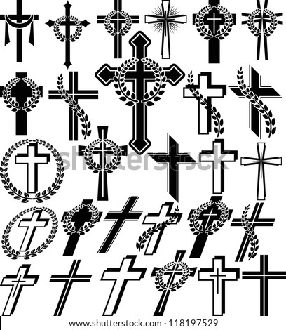 crosses - set of vector illustration