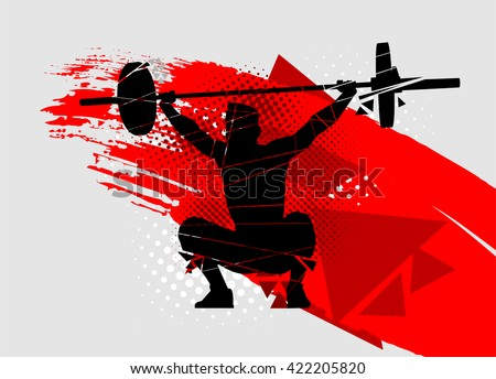 crossfit vector silhouette of weightlifter with a barbell