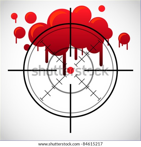 crosshair with red dot and blood spot - illustration