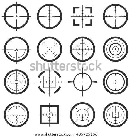 Crosshairs vector icons set. Target and aiming to bullseye illustration