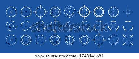 crosshairs vector illustration icon set isolated on background. Aim and aiming symbol. Abstract concept graphic games element.