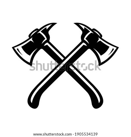 Crossing axes vector image illustration, best used for carpentry business Foto stock ©