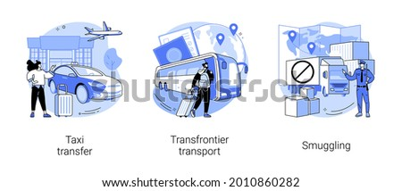 Crossing border abstract concept vector illustration set. Taxi transfer, transfrontier transport, smuggling and illegal goods transportation, freight taxi service, contraband abstract metaphor.