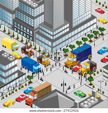 crossing of city is in a three-dimensional a vector image