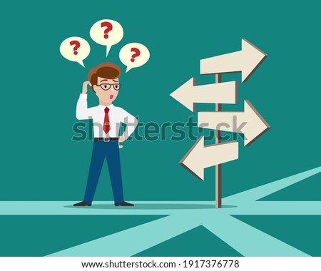 Crossroad direction choice. Confused person crossroads standing, business solution concept, character choice vector illustration