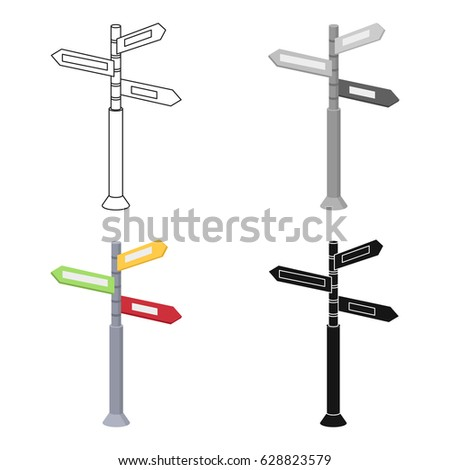 Crossroad sign icon in cartoon style isolated on white background. Rest and travel symbol stock vector illustration.