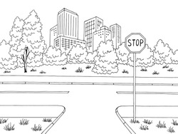 Crossroad street road graphic black white city landscape sketch illustration vector
