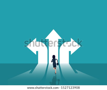 Crossroads and decision to success. Business decisions concept, Career, path and strategy, Flat cartoon vector style design.