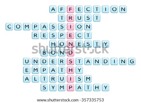 Crossword for the word Friendship and words associated with Friendship (Affection, Trust, Compassion, Honesty, Respect, Bond, Understanding, Empathy, Altruism, Sympathy), vector illustration #357335753