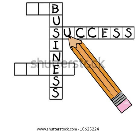 crossword puzzle with successful business words - success, business - vector
