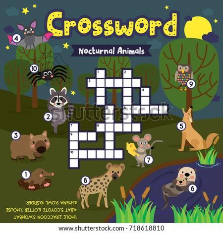 Shutterstock Crosswords puzzle game of nocturnal animals for preschool kids activity worksheet colorful printable version. Vector Illustration.
