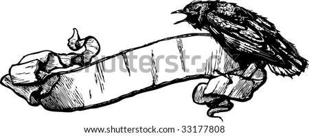 Crow Banner Vector Illustration - stock vector