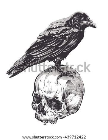crow on skull isolated on white
