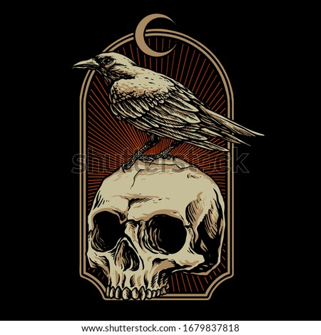 crow with skull vector illustration Stock photo ©