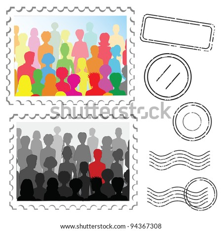 Crowd ans stamps on a post stamps