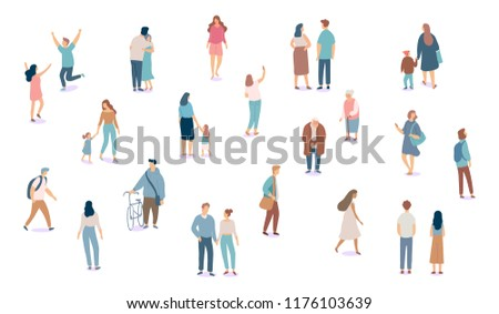 Crowd. Different People vector set2. Male and female flat characters isolated on white background.