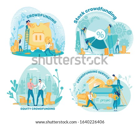 Crowd, Equity, Stockfunding and Service, Cartoon. People Put Coins into Big Piggy Bank. Workers Create Pie Chart from Different Sectors. Male Entrepreneurs Agree on Cooperation, illustration.
