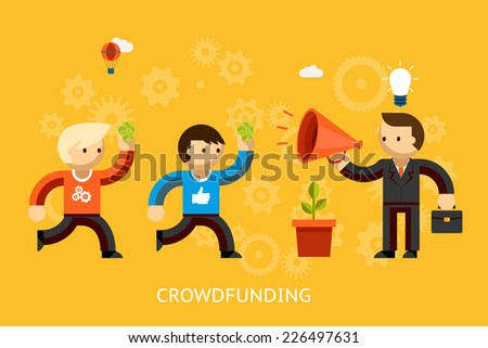Crowd funding concept with a businessman with a bright idea advertising over a megaphone and people with money running to invest   vector illustration
