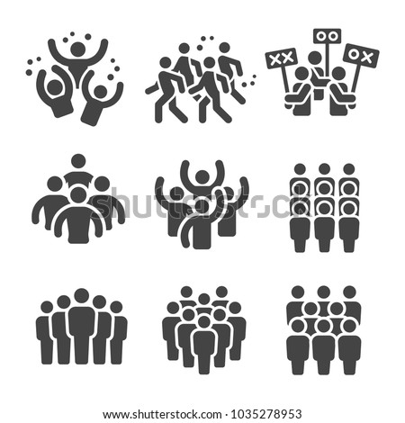 crowd group icon set