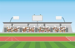 Crowd in stadium grandstand to cheering sport, vector illustration.