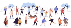 Crowd of active cartoon people ice skating on rink vector flat illustration. Man, woman, children, family and couple outdoors activity isolated on white. Colorful person in seasonal outerwear