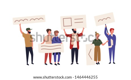 Crowd of activists or demonstrators holding banners or placards. Men and women taking part in public protest meeting, street demonstration, picketing, rally or march. Flat cartoon vector illustration.