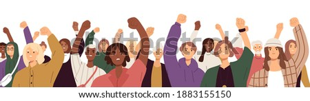 Crowd of angry protesters with fists raised up at demonstration. People supporting Black Lives Matter movement and protesting against discrimination. Colored flat vector illustration isolated on white