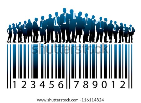 Crowd of businesspeople are standing on a large bar code