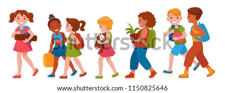 crowd of children of different gender and nationalities goes to school. Back to school cartoon vector illustration