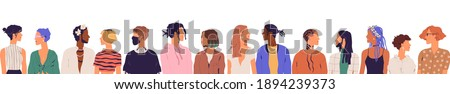 Crowd of diverse young modern people isolated on white background. Group of contemporary trendy men and women of different race and appearance. Multicultural society. Colored flat vector illustration