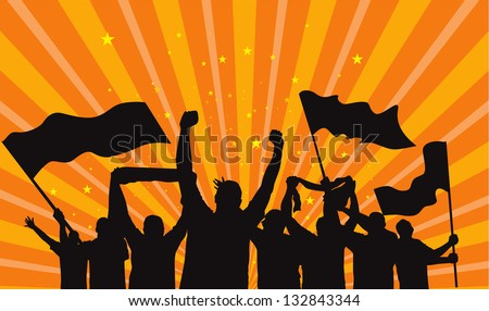 crowd of fans vector silhouette - stock vector